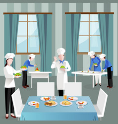 Cooking people in restaurant composition vector