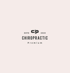 cp letter chiropractic logo hipster retro vintage vector image