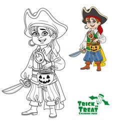 Cute boy in pirate costume with a pumpkin bag vector