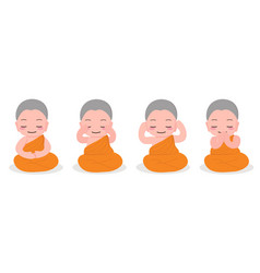 Cute young buddhist monk meditation practice vector