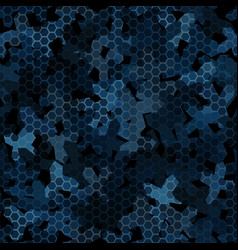 dark blue night camouflage seamless pattern with vector image
