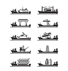 Different heavy lift ships vector