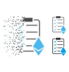 Disappearing pixel halftone ethereum smart vector
