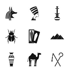 Egypt travel icons set simple style vector