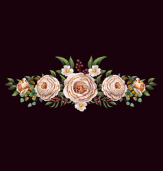 english peachy roses with other flowers bouquet vector image