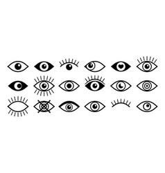 eye icon open and close eyeball with eyelash vector image