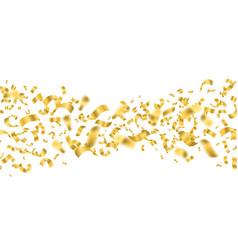falling shiny golden confetti stream on a white vector image