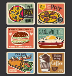 Fast food menu vintage card with takeaway snack vector