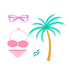 female swimsuit sunglasses palm tree isolated on vector image