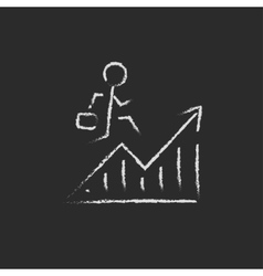 Financial recovery icon drawn in chalk vector