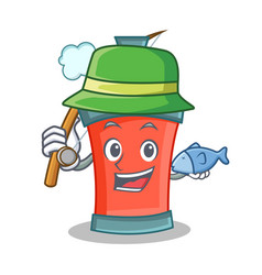 Fishing aerosol spray can character cartoon vector