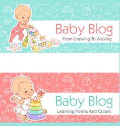 For baby blog toddler with walker vector