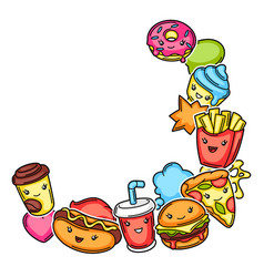 Frame with cute kawaii fast food meal tasty vector