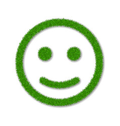 Green grass face smile smiley grassy icon vector