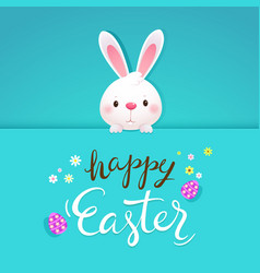 Happy easter greeting card with white rabbit vector