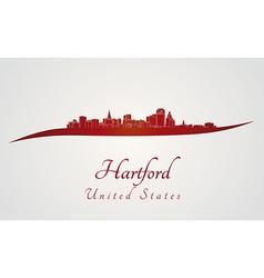 Hartford skyline in red vector image