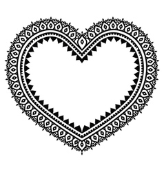 Heart Mehndi design Indian Henna tattoo pattern vector image