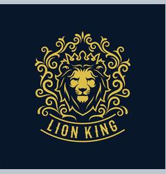 luxury lion king logo image template vector image