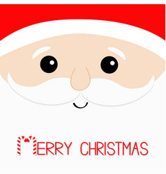 Merry christmas candy cane santa claus big head vector
