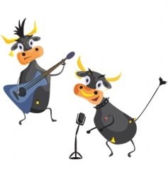 Musical cows vector