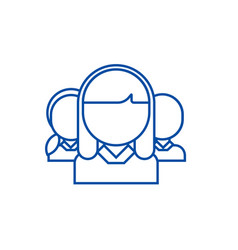 networking woman and man line icon concept vector image
