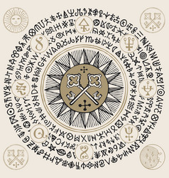 Occult banner with vintage keys and magic runes vector