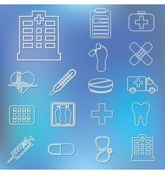 outline hospital icons vector image
