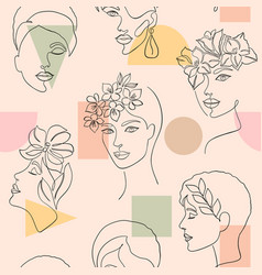 Pattern with women faces vector