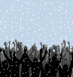 People silhouettes enjoying snow vector image
