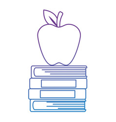 pile text books and apple vector image