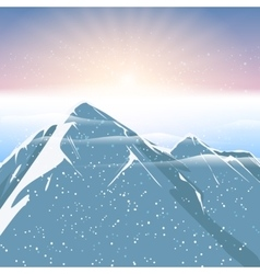 Polar sunrise mountain and snowfalling landscape vector image
