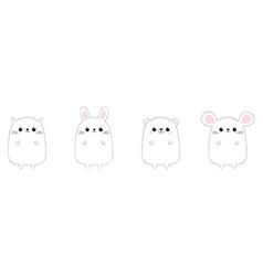 rabbit hare cat kitten kitty mouse bear icon set vector image