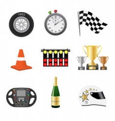 race objects icons vector image