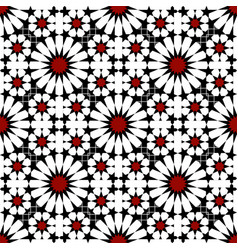 Red black moroccan motif tile pattern vector