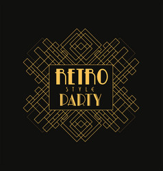 retro party logo design vintage luxury minimal vector image