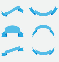 Ribbon banner decoration blue vector image