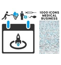 Rocket Start Calendar Day Icon With 1000 Medical vector