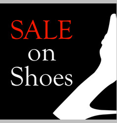 sale on shoes with silhouette of a shoe vector image