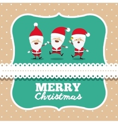 santa claus cute frame group character icon vector image