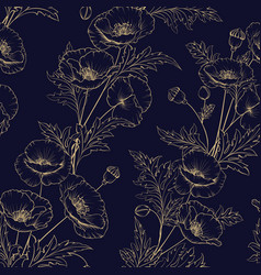 seamless pattern of golden poppy flowers vector image