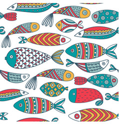 Seamless pattern with fishes hand drawn undersea vector