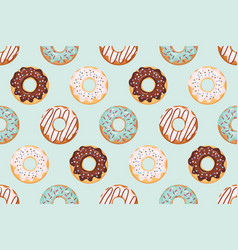 Seamless pattern with glazed donuts blue vector
