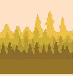Sepia design of mountains and forest landscape vector