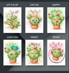 set cute - cartoon cactus emotion vector image