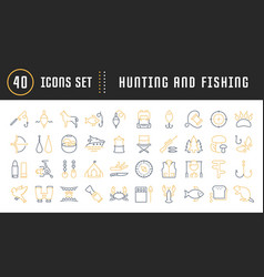 set flat line icons mushrooming fishing vector image