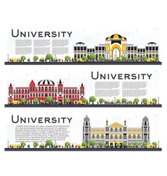 Set of university campus study banners isolated vector