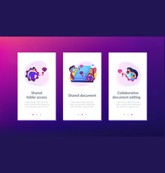 Shared document app interface template vector