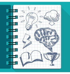 sheet of paper with lightbulb brain book cup arrow vector image