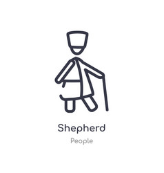 Shepherd outline icon isolated line from people vector