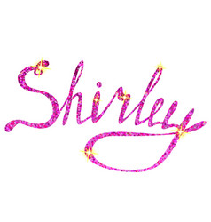 Shirley name lettering tinsels vector